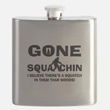 Gone Squatchin Bigfoot In Woods Flask