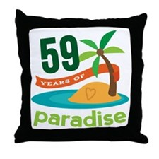 59th Anniversary Paradise Throw Pillow