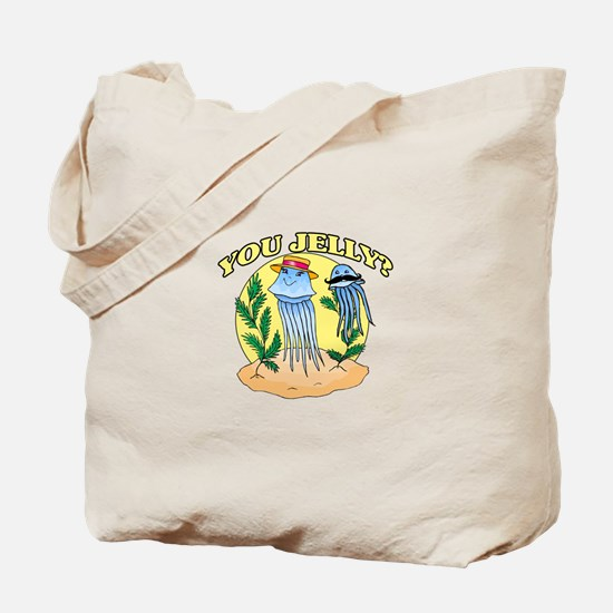 You Jelly Mustache Jellyfish Tote Bag