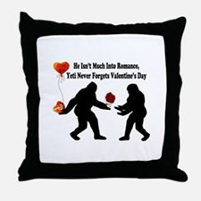 Bigfoot Remembers Valentines Day Throw Pillow