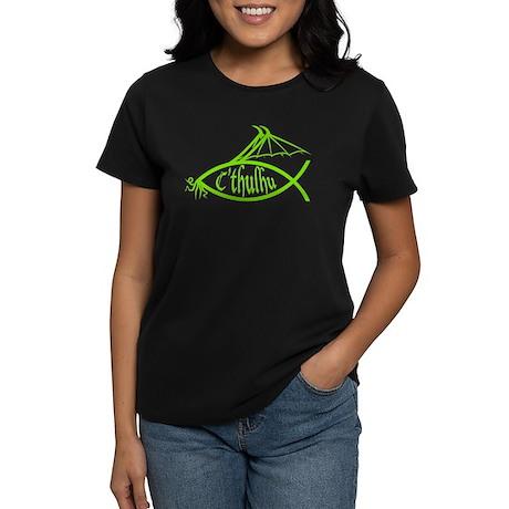 Cthulhu Fish (Green) Women's Dark T-Shirt