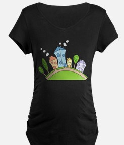 Cartoon Houses Maternity T-Shirt