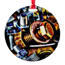 Nuts and Bolts Pop Art Round Ornament