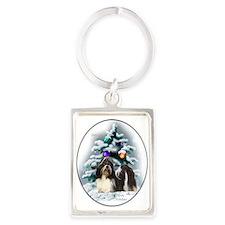 Shih Tzu Christmas Portrait Keychain