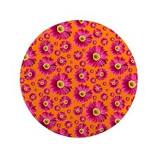 "Fuchsia Pop Daisy Pattern 3.5"" Button"