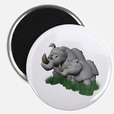 Mommy and Baby Rhino Magnet