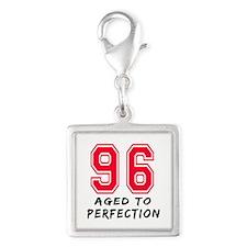 96 Year birthday designs Silver Square Charm