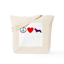 Peace, Love, Cardigan Corgi Tote Bag