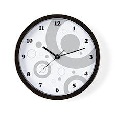 Groovy Gray Circles Wall Clock