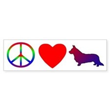 Peace, Love, Cardigan Corgi Bumper Bumper Sticker