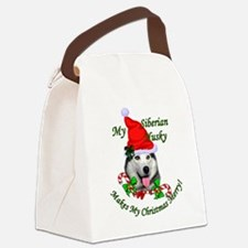 Siberian Husky Christmas Canvas Lunch Bag