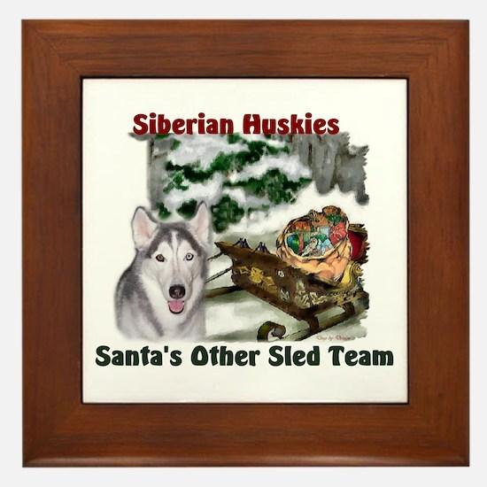 Siberian Husky Christmas Framed Tile