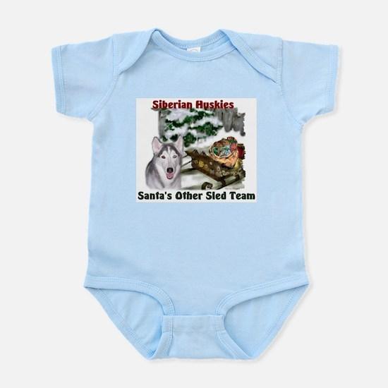 Siberian Husky Christmas Baby Light Bodysuit
