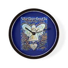 Blue & Gold Cancer Angel Wall Clock