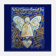 Blue & Gold Cancer Angel Tile Coaster