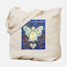 Blue & Gold Cancer Angel Tote Bag