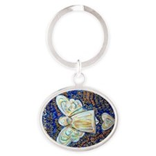Blue & Gold Cancer Angel Oval Keychain