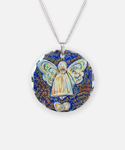 Blue & Gold Cancer Angel Necklace Circle Charm
