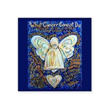 "Blue & Gold Cancer Angel Square Sticker 3"" x 3"""