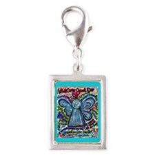 Colorful Cancer Angel Silver Portrait Charm