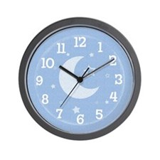 Moon & Stars Blue Wall Clock