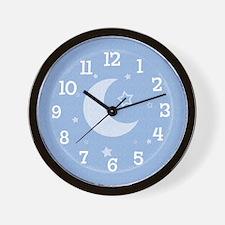 Moon & Stars Blue Wall Clock