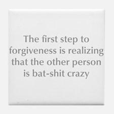first-step-to-forgiveness-opt-gray Tile Coaster