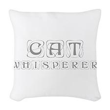 cat-whisperer-kon-gray Woven Throw Pillow
