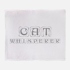 cat-whisperer-kon-gray Throw Blanket