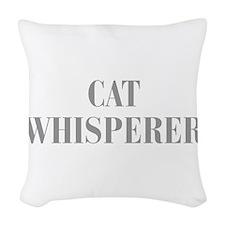 cat-whisperer-bod-gray Woven Throw Pillow