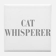 cat-whisperer-bod-gray Tile Coaster