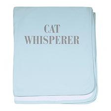 cat-whisperer-bod-gray baby blanket