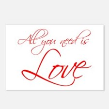 all-you-need-is-love-scr-red Postcards (Package of