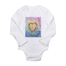 Rainbow Heart Cancer Long Sleeve Infant Bodysuit