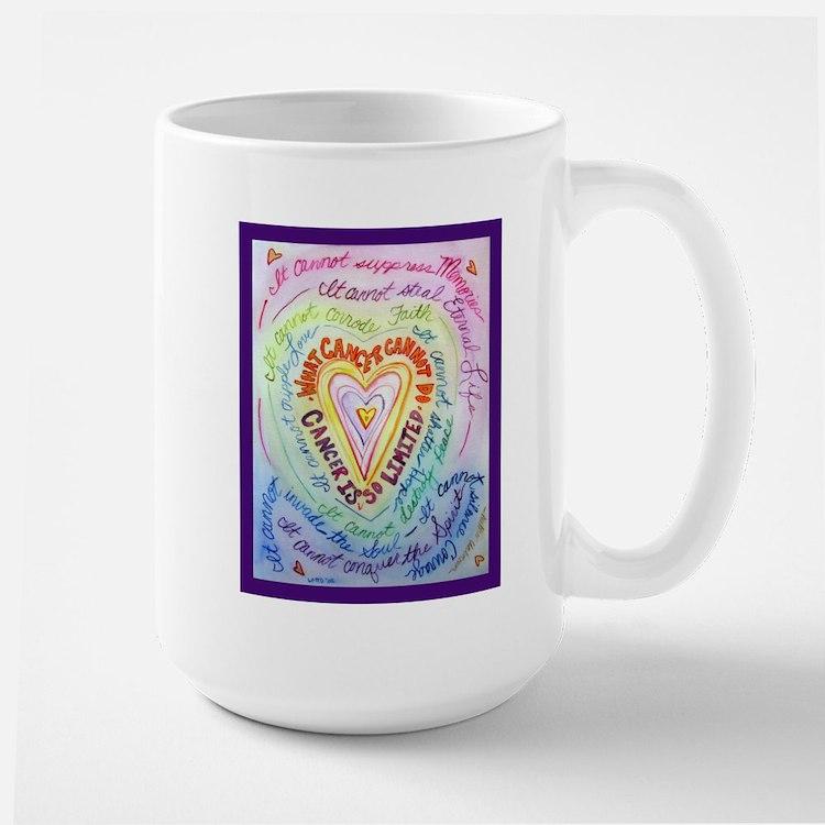 Rainbow Heart Cancer Large Mug