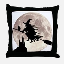Flying Witch Moon Throw Pillow