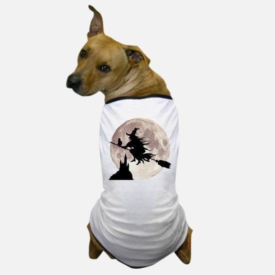 Flying Witch Moon Dog T-Shirt