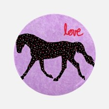"Horse Love and Hearts 3.5"" Button"