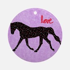 Horse Love and Hearts Round Ornament