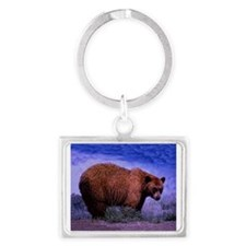 Brown Grizzly Bear Landscape Keychain