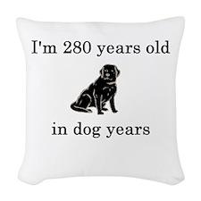 40 birthday dog years black lab Woven Throw Pillow