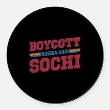 Boycott Sochi Round Car Magnet
