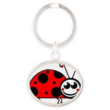 Lady Bug Oval Keychain