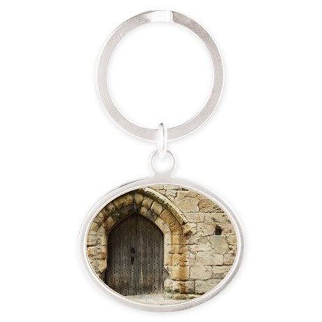 Old Castle Gate Oval Keychain