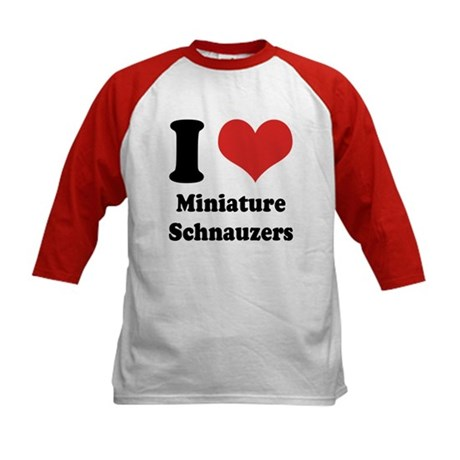 I Heart Miniature Schnauzers Kids Baseball Jersey