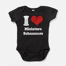 I Heart Miniature Schnauzers Baby Bodysuit