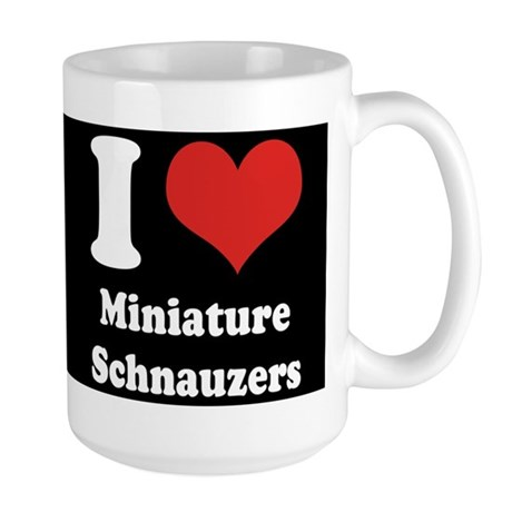 I Heart Miniature Schnauzers Large Mug