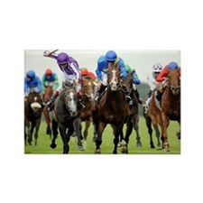 Front View of Horse Racing Rectangle Magnet