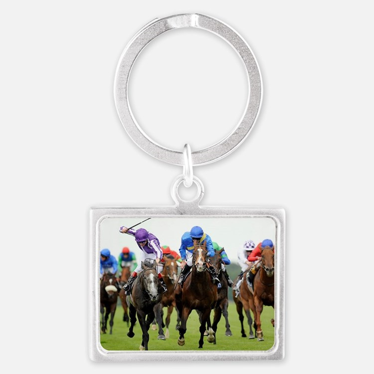 Front View of Horse Racing Landscape Keychain