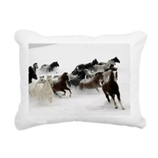 Horses Racing Through Th Rectangular Canvas Pillow